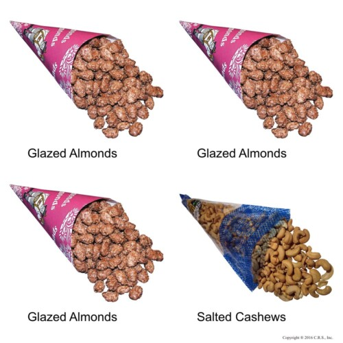 Cinnamon Glazed Roasted Almonds and Lightly Salted Cashews in a 4-cone Pack