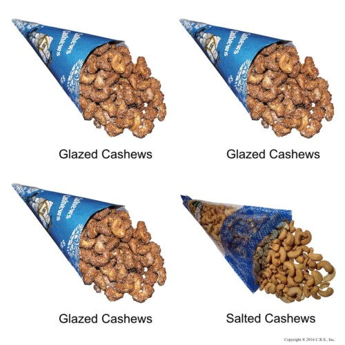 Cinnamon Glazed Roasted Cashews and Lightly Salted Cashews in a 4-cone Pack