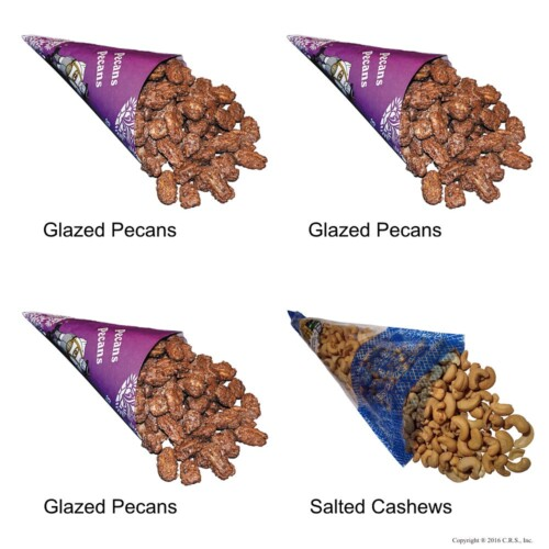 Cinnamon Glazed Roasted Pecans and Lightly Salted Cashews in a 4-cone Pack